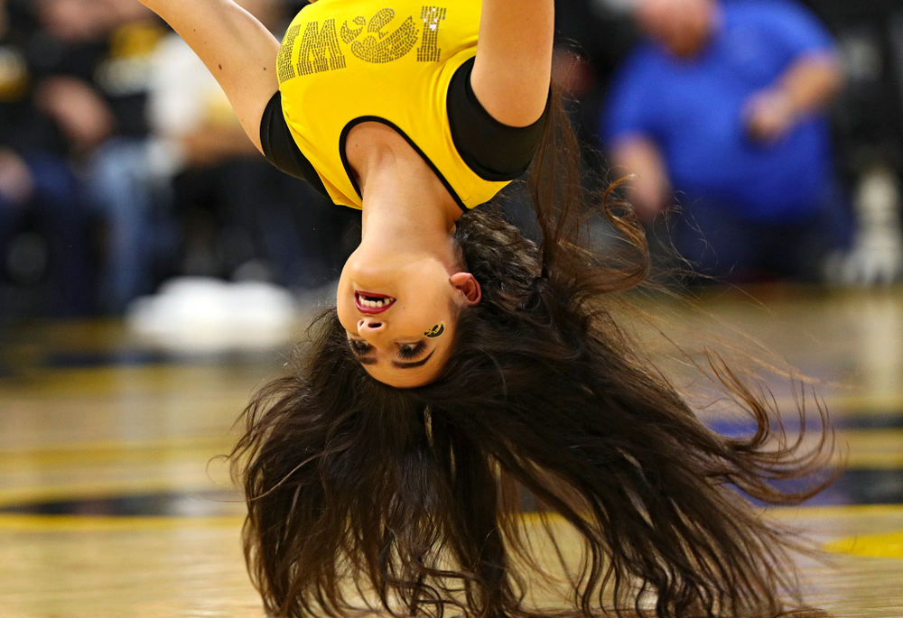 An Iowa dance team member performs during the fourth quarter of their overtime win against Princeton at Carver-Hawkeye Arena in Iowa City on Wednesday, Nov 20, 2019. (Stephen Mally/hawkeyesports.com)