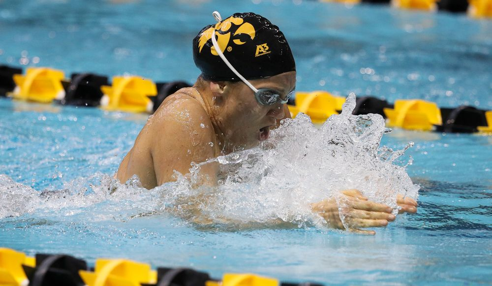 Iowa's Devin Jacobs competes in the 200-yard breaststroke during a meet against Michigan and Denver at the Campus Recreation and Wellness Center on November 3, 2018. (Tork Mason/hawkeyesports.com)