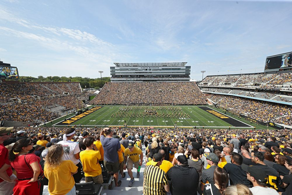 The Hawkeye Marching Band performs during half time of their Big Ten Conference football game at Kinnick Stadium in Iowa City on Saturday, Sep 7, 2019. (Stephen Mally/hawkeyesports.com)