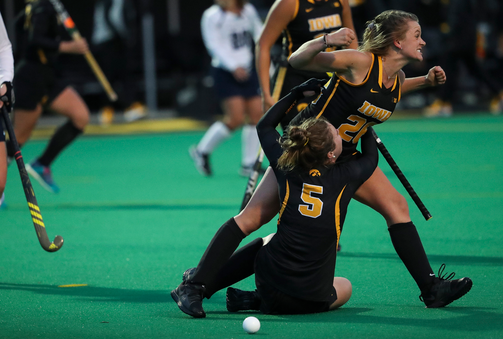 Iowa Hawkeyes forward Madeleine Murphy (26) reacts after scoring a game-winning goal during a game against No. 6 Penn State at Grant Field on October 12, 2018. (Tork Mason/hawkeyesports.com)