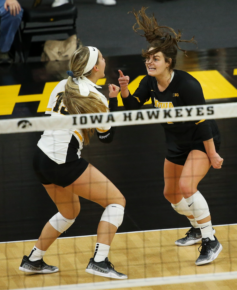 Iowa Hawkeyes defensive specialist Maddie Slagle (15) and Iowa Hawkeyes defensive specialist Molly Kelly (1) react after an attack goes long during a game against Purdue at Carver-Hawkeye Arena on October 13, 2018. (Tork Mason/hawkeyesports.com)