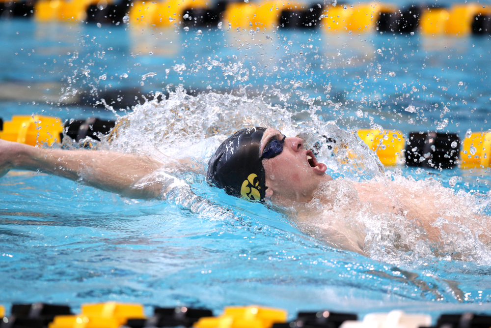 Iowa's Westin Credit swims in the preliminaries of the 200-yard IM during the 2019 Big Ten Swimming and Diving Championships Thursday, February 28, 2019 at the Campus Wellness and Recreation Center. (Brian Ray/hawkeyesports.com)