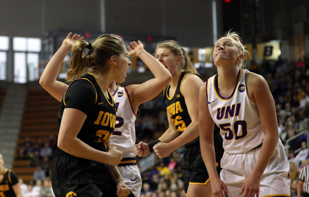 Iowa Hawkeyes guard Kate Martin (20) against Northern Iowa Sunday, November 17, 2019 at the McLeod Center. (Brian Ray/hawkeyesports.com)
