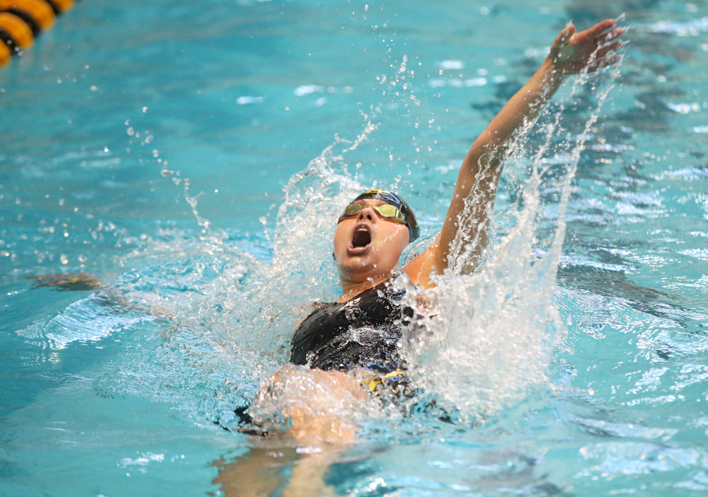 Iowa's Kennedy Gilbertson swims the women's 100 yard backstroke preliminary event during the 2020 Women's Big Ten Swimming and Diving Championships at the Campus Recreation and Wellness Center in Iowa City on Friday, February 21, 2020. (Stephen Mally/hawkeyesports.com)