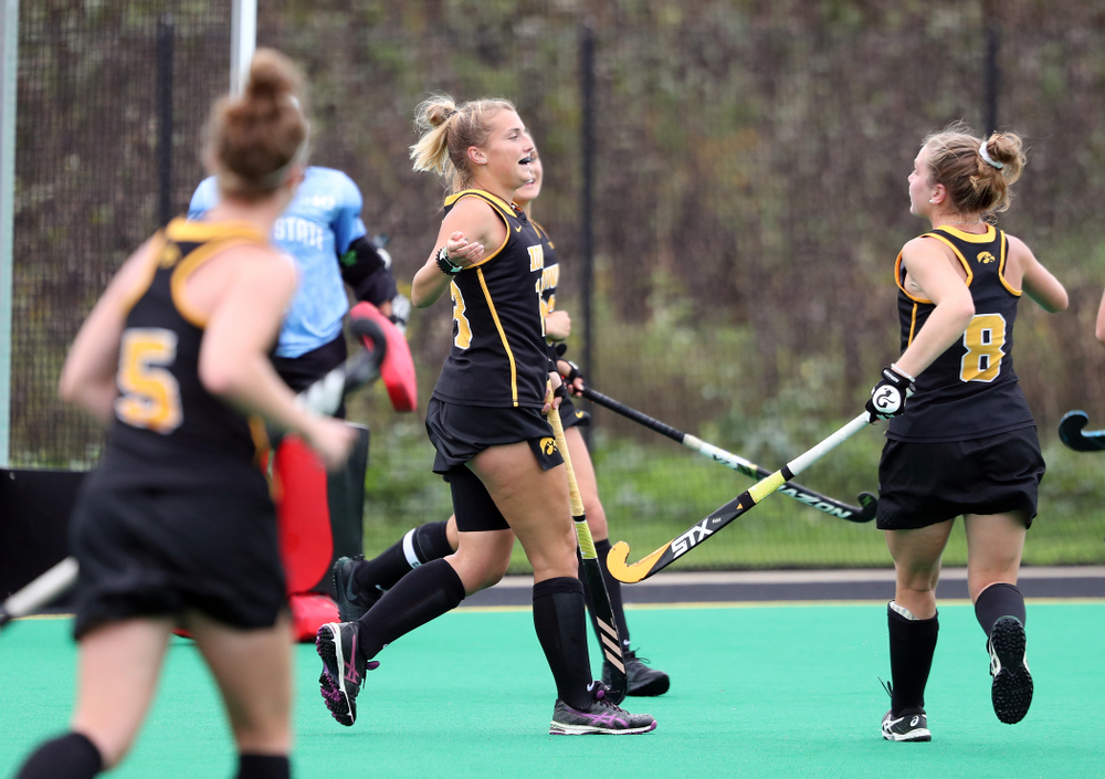 Iowa Hawkeyes forward Leah Zellner (13) celebrates after scoring during a 2-1 victory against the Ohio State Buckeyes Friday, September 27, 2019 at Grant Field. (Brian Ray/hawkeyesports.com)