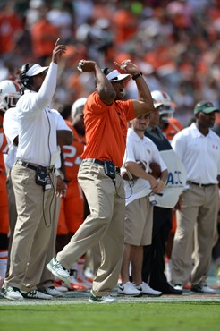 University of Miami Hurricanes linebackers coach Michael Barrow on the sidelines in a game against the Wake Forest Demon Deacons at Sun Life Stadium...