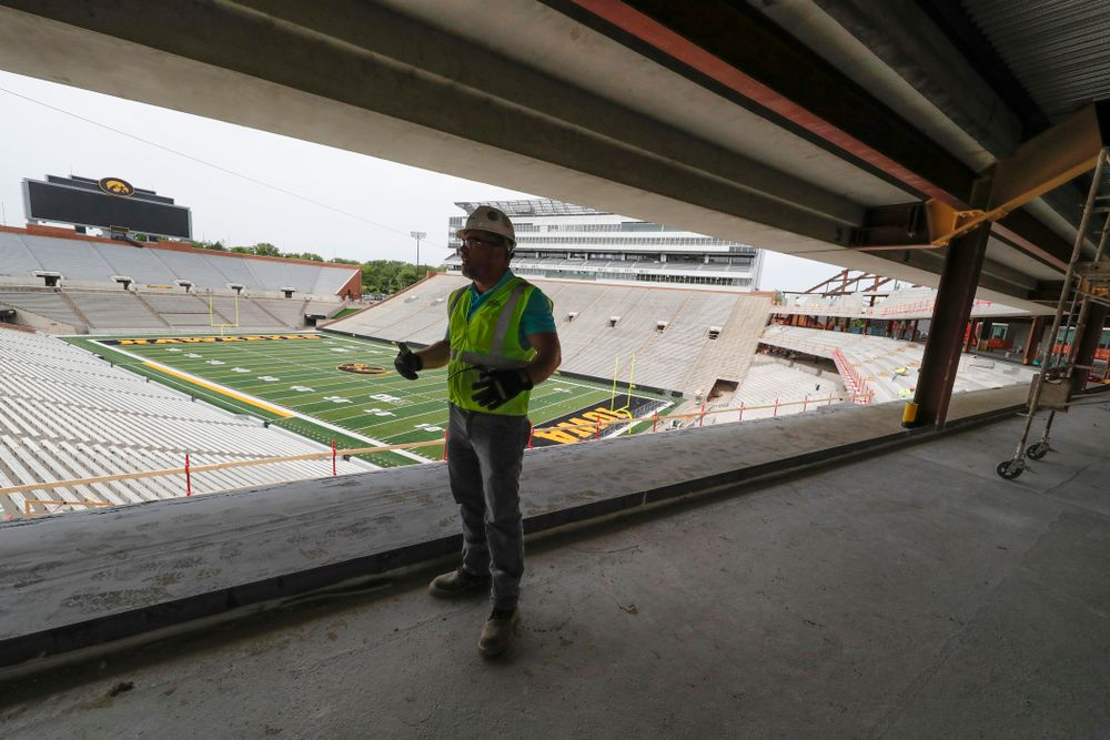 University of Iowa Senior Construction Project Manager Michael Kearns talks about the club level in north end zone Wednesday, June 6, 2018 at Kinnick Stadium. (Brian Ray/hawkeyesports.com)