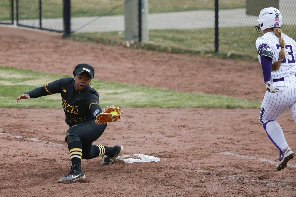 Iowa's Donirae Mayhew (24) at game 2 vs Northwestern on Saturday, March 30, 2019 at Bob Pearl Field. (Lily Smith/hawkeyesports.com)