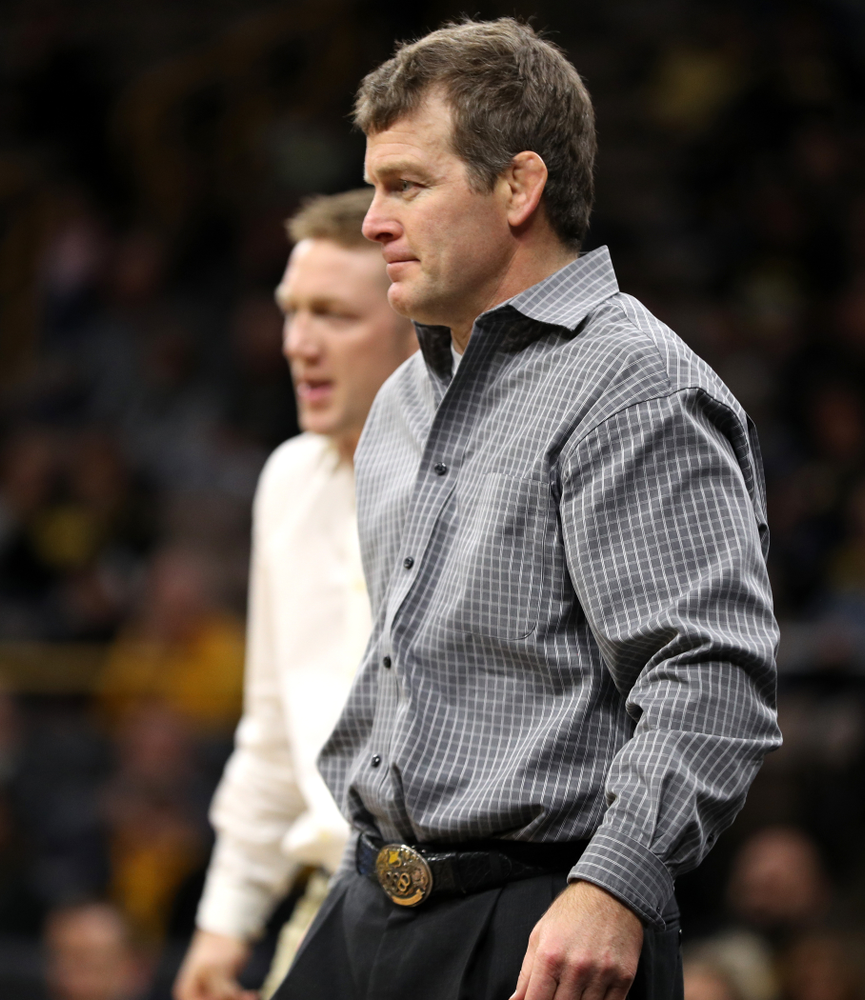 Head Coach Tome Brands as Iowa's Cash Wilcke wrestles Purdue's Max Lyon at 184 pounds Saturday, November 24, 2018 at Carver-Hawkeye Arena. (Brian Ray/hawkeyesports.com)