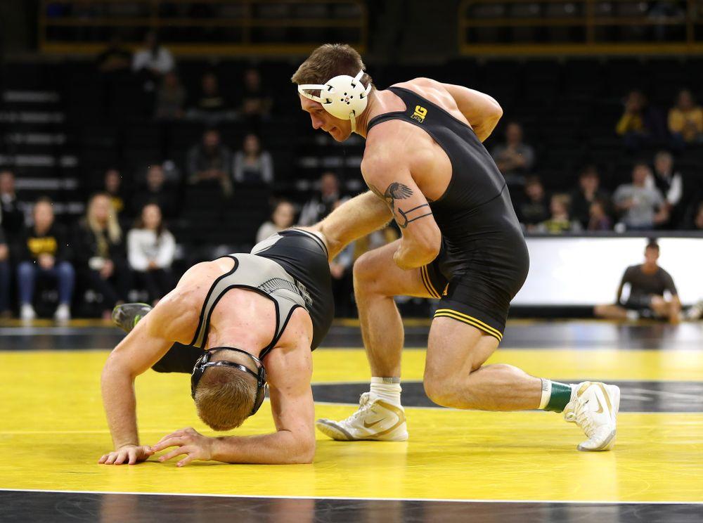 Iowa's Cash Wilcke wrestles Purdue's Max Lyon at 184 pounds Saturday, November 24, 2018 at Carver-Hawkeye Arena. (Brian Ray/hawkeyesports.com)