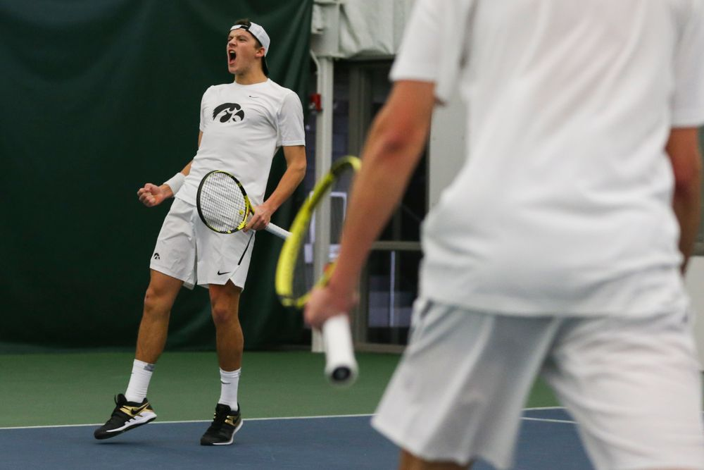 Iowa's Joe Tyler celebrates a point during the Iowa men's tennis match vs Western Michigan on Saturday, January 18, 2020 at the Hawkeye Tennis and Recreation Complex. (Lily Smith/hawkeyesports.com)