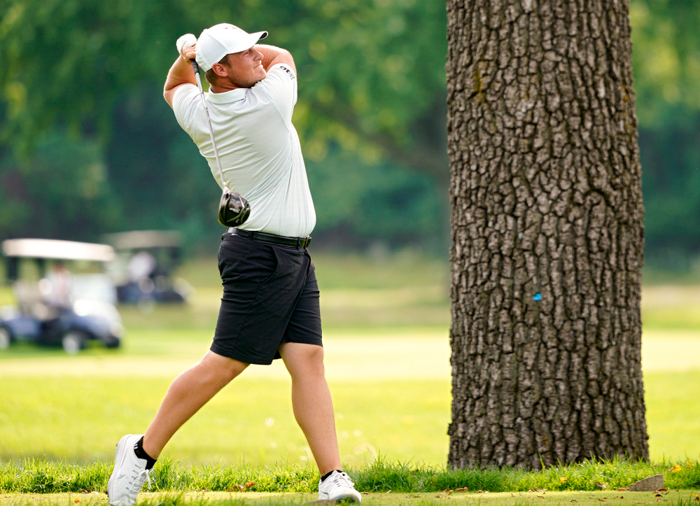 Iowa's Alex Schaake tees off during the second day of the Golfweek Conference Challenge at the Cedar Rapids Country Club in Cedar Rapids on Monday, Sep 16, 2019. (Stephen Mally/hawkeyesports.com)