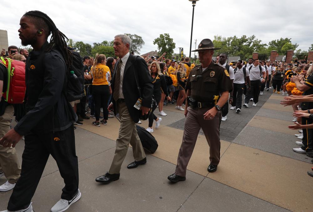 Iowa Hawkeyes head coach Kirk Ferentz arrives for their game against the Miami RedHawks Saturday, August 31, 2019 at Kinnick Stadium in Iowa City. (Brian Ray/hawkeyesports.com)