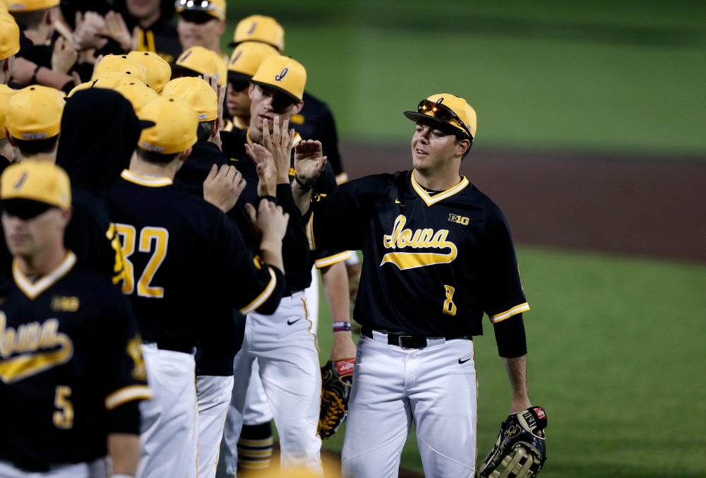 Iowa Hawkeyes outfielder Luke Farley (8) against Milwaukee Wednesday, April 25, 2018 at Duane Banks Field. (Brian Ray/hawkeyesports.com)