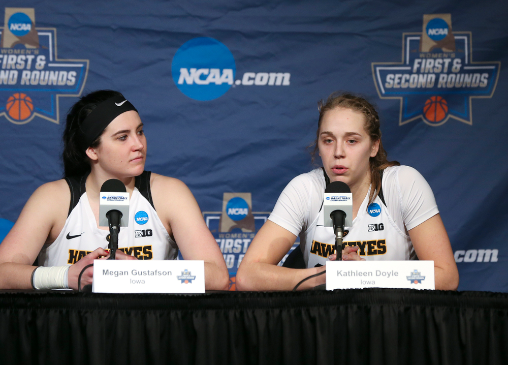 Iowa Hawkeyes center Megan Gustafson (10) and guard Kathleen Doyle (22) during a press conference after winning their second round game in the 2019 NCAA Women's Basketball Tournament at Carver Hawkeye Arena in Iowa City on Sunday, Mar. 24, 2019. (Stephen Mally for hawkeyesports.com)