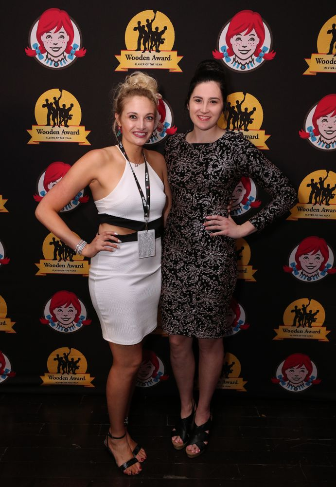 Iowa Hawkeyes forward Megan Gustafson (10) and her sister Emily before the ESPN College Basketball Awards show Friday, April 12, 2019 at The Novo at LA Live.  (Brian Ray/hawkeyesports.com)