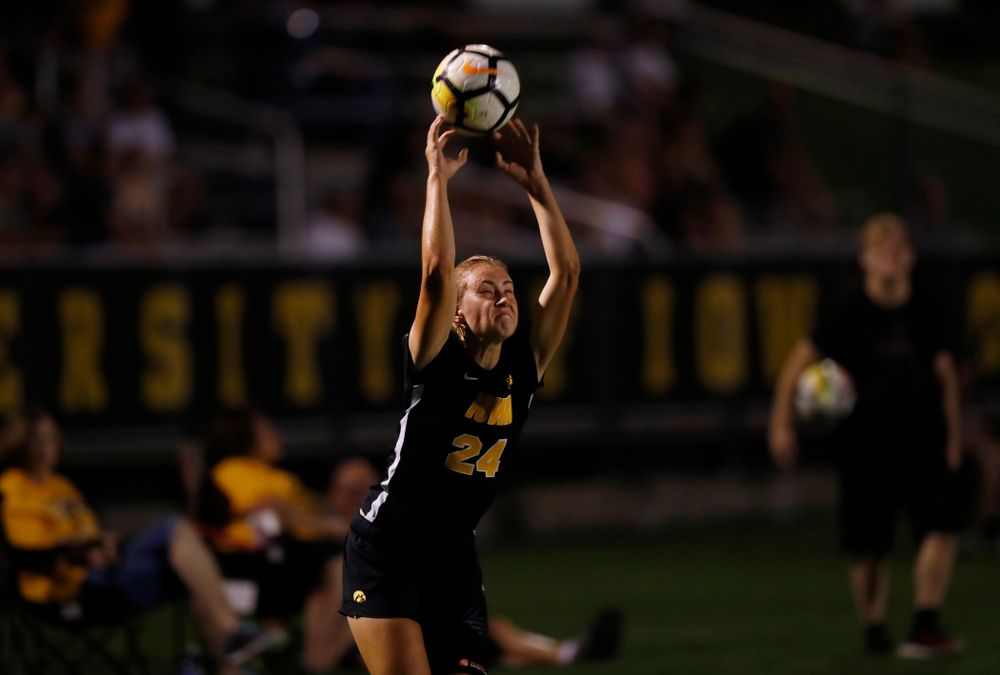 Iowa Hawkeyes Sara Wheaton (24) against the Purdue Boilermakers Thursday, September 20, 2018 at the Iowa Soccer Complex. (Brian Ray/hawkeyesports.com)