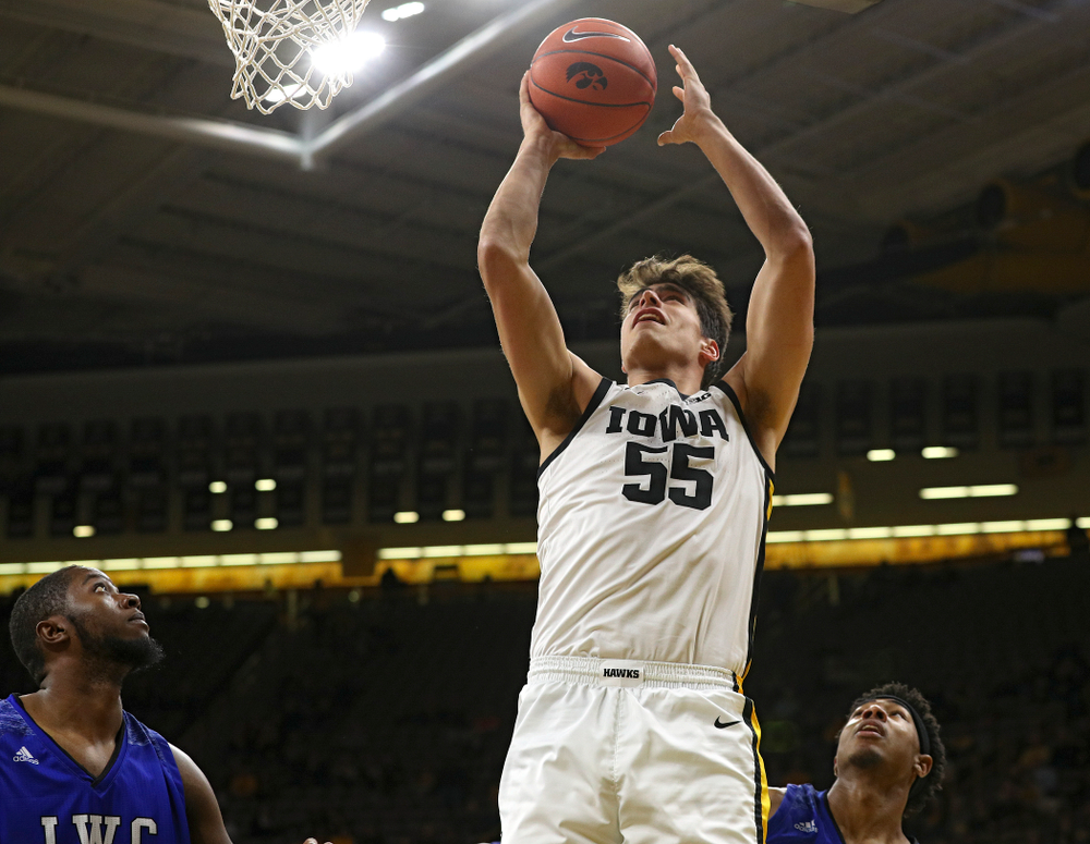Iowa Hawkeyes center Luka Garza (55) makes a basket during the first half of their exhibition game against Lindsey Wilson College at Carver-Hawkeye Arena in Iowa City on Monday, Nov 4, 2019. (Stephen Mally/hawkeyesports.com)