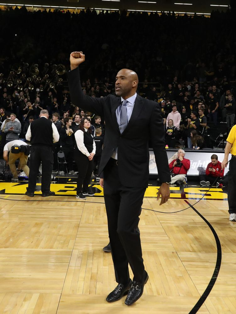 Iowa Hawkeyes assistant coach Andrew Francis against the Indiana Hoosiers Friday, February 22, 2019 at Carver-Hawkeye Arena. (Brian Ray/hawkeyesports.com)