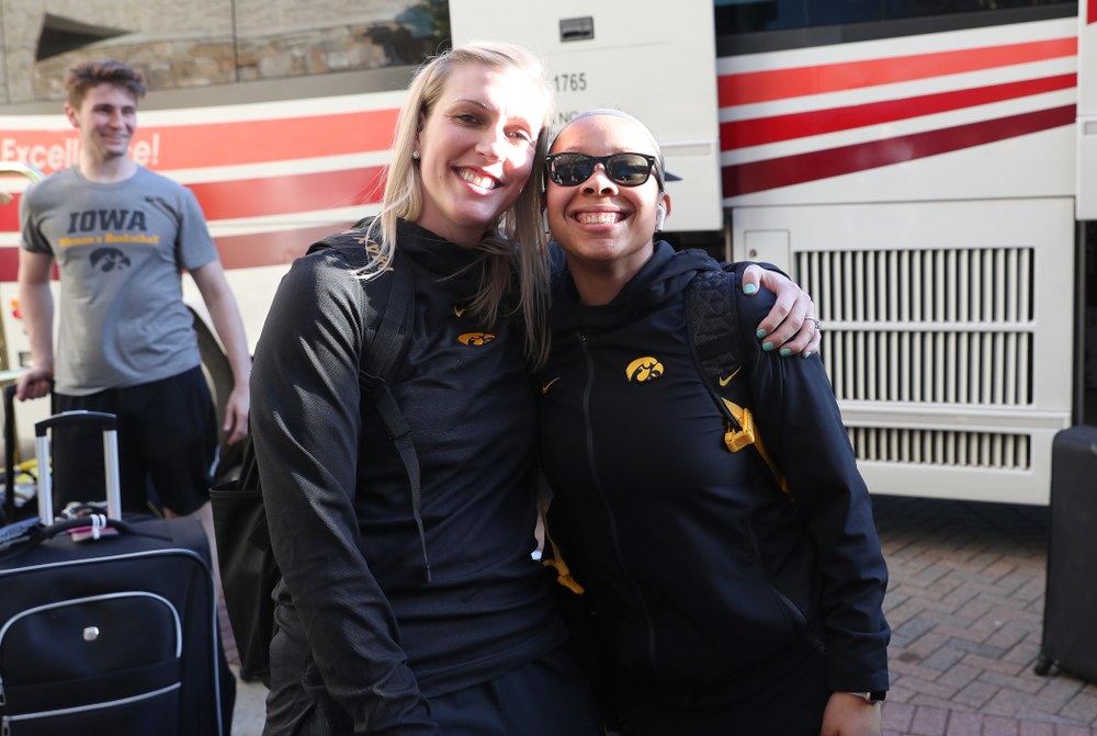 Iowa Hawkeyes guard Tania Davis (11) and trainer Lindsay Dinkelman arrives in Greensboro, NC for the Regionals of the 2019 NCAA Women's Basketball Championships Thursday, March 28, 2019 at the Eastern Iowa Airport. (Brian Ray/hawkeyesports.com)