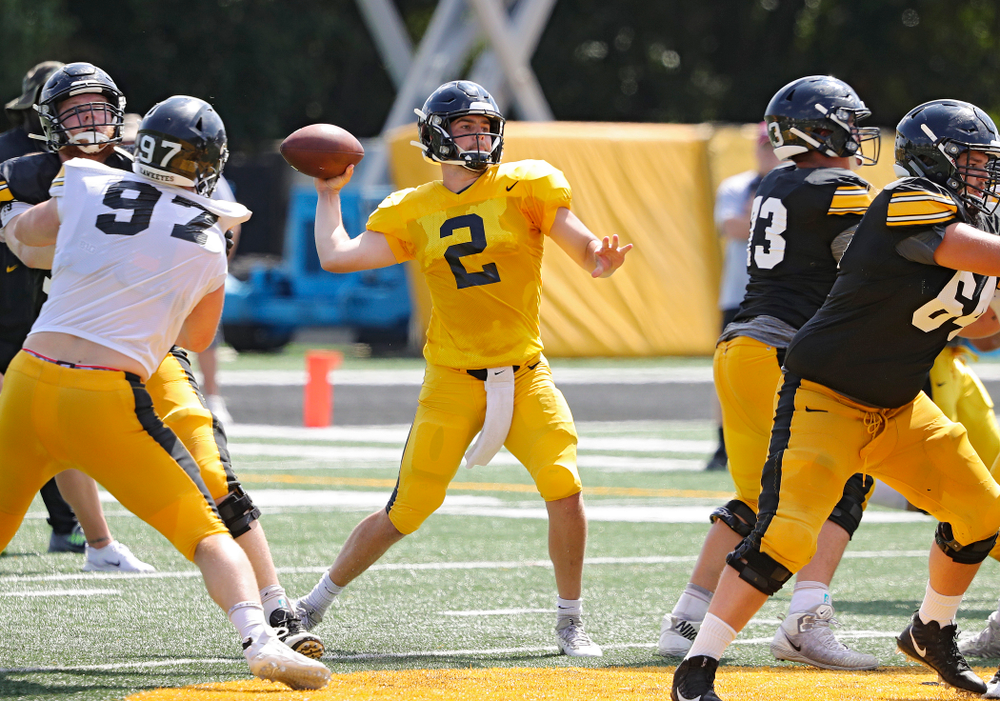 Iowa Hawkeyes quarterback Peyton Mansell (2) throws during Fall Camp Practice #5 at the Hansen Football Performance Center in Iowa City on Tuesday, Aug 6, 2019. (Stephen Mally/hawkeyesports.com)