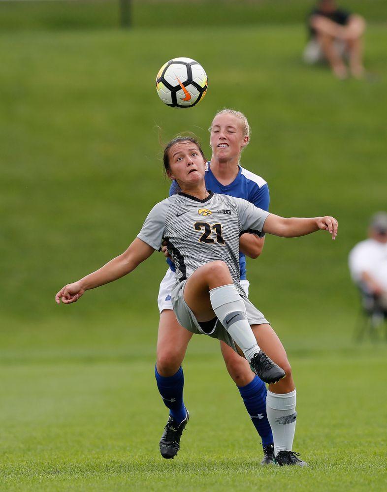 Iowa Hawkeyes Emma Tokuyama (21) against Indiana State Sunday, August 26, 2018 at the Iowa Soccer Complex. (Brian Ray/hawkeyesports.com)