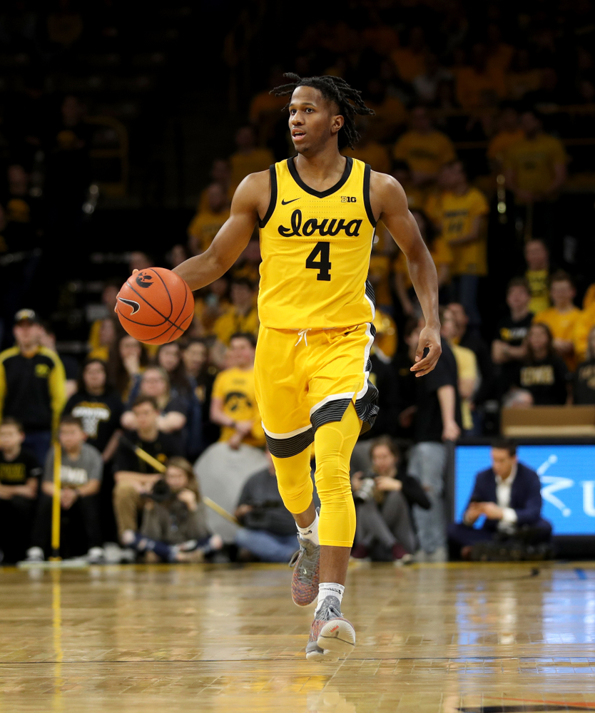 Iowa Hawkeyes guard Bakari Evelyn (4) against the Nebraska Cornhuskers Saturday, February 8, 2020 at Carver-Hawkeye Arena. (Brian Ray/hawkeyesports.com)