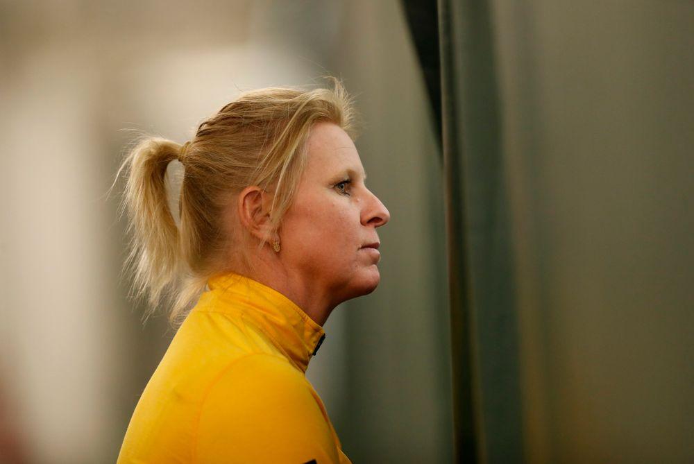 Iowa's head coach Sasha Schmid against Marquette