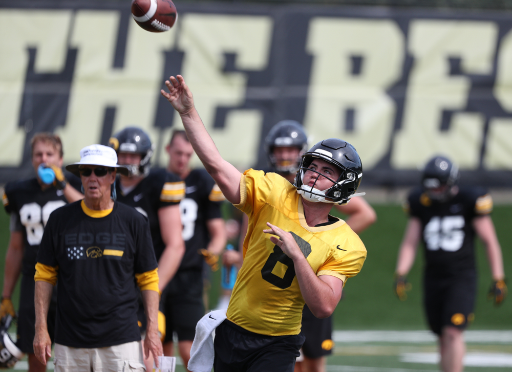 Iowa Hawkeyes quarterback Alex Padilla (8) during Fall Camp Practice No. 4 Monday, August 5, 2019 at the Ronald D. and Margaret L. Kenyon Football Practice Facility. (Brian Ray/hawkeyesports.com)
