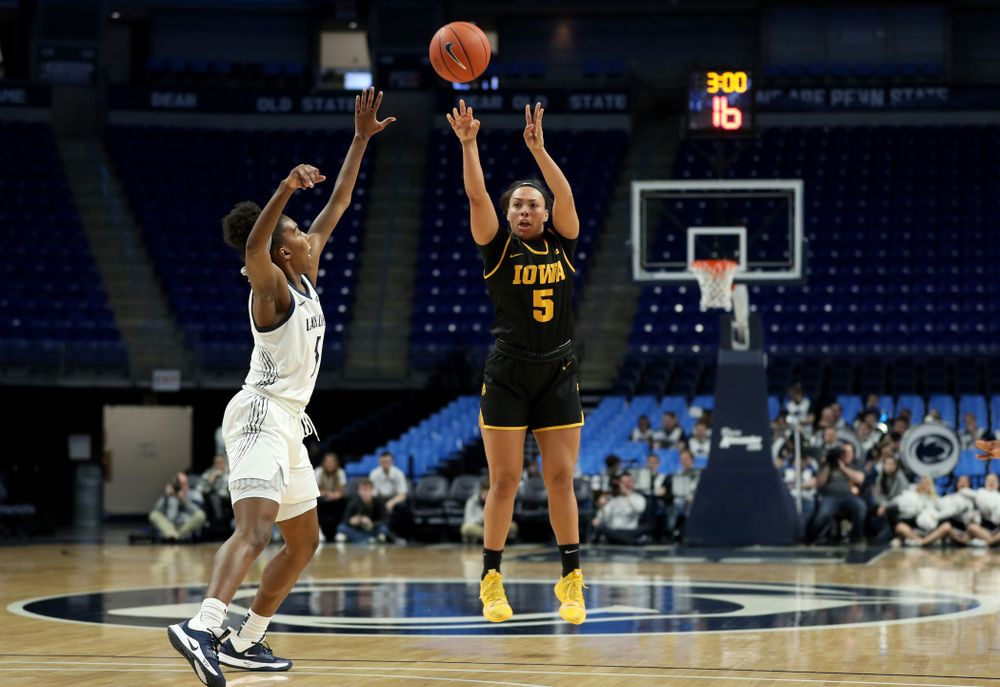 Iowa Hawkeyes guard Alexis Sevillian (5) against the Penn State Nittany Lions Thursday, January 30, 2020 at the Bryce Jordan Center. (Brian Ray/hawkeyesports.com)