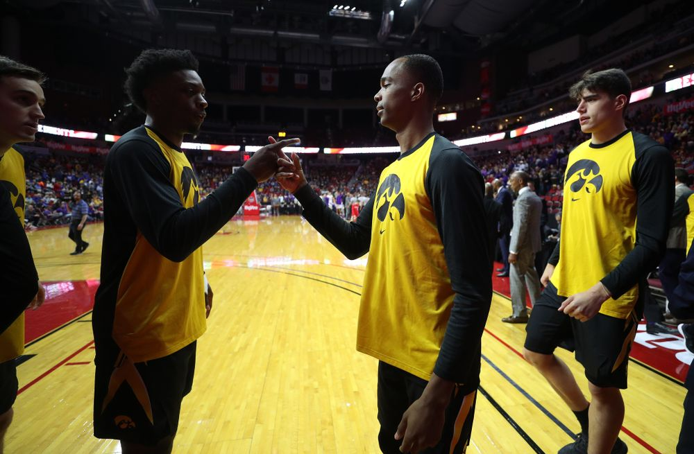 Iowa Hawkeyes forward Tyler Cook (25) and guard Maishe Dailey (1) against the Northern Iowa Panthers in the Hy-Vee Classic Saturday, December 15, 2018 at Wells Fargo Arena in Des Moines. (Brian Ray/hawkeyesports.com)
