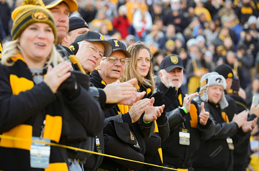 University of Iowa letterwinners form a tunnel on senior day before their game at Kinnick Stadium in Iowa City on Saturday, Nov 23, 2019. (Stephen Mally/hawkeyesports.com)