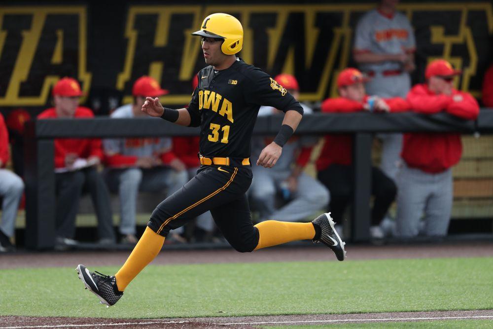 Iowa Hawkeyes infielder Matthew Sosa (31) against Simpson College Tuesday, March 19, 2019 at Duane Banks Field. (Brian Ray/hawkeyesports.com)