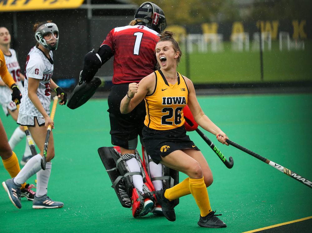 Iowa Hawkeyes forward Madeleine Murphy (26) reacts after scoring a goal during a game against Stanford at Grant Field on October 7, 2018. (Tork Mason/hawkeyesports.com)