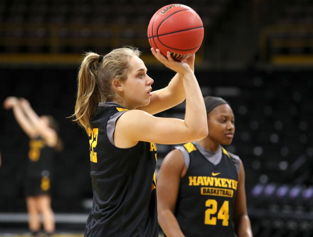 Iowa Hawkeyes guard Kathleen Doyle (22) shoots at a practice during the 2019 NCAA Women's Basketball Tournament at Carver Hawkeye Arena in Iowa City on Saturday, Mar. 23, 2019. (Stephen Mally for hawkeyesports.com)