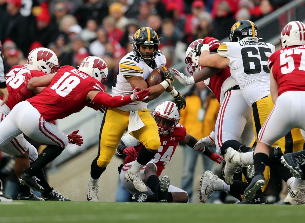 Iowa Hawkeyes running back Toren Young (28) against the Wisconsin Badgers Saturday, November 9, 2019 at Camp Randall Stadium in Madison, Wisc. (Brian Ray/hawkeyesports.com)