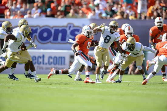 University of Miami Hurricanes running back Duke Johnson #8 plays in a game against the Georgia Tech Yellow Jackets at Sun Life Stadium on October 5,...