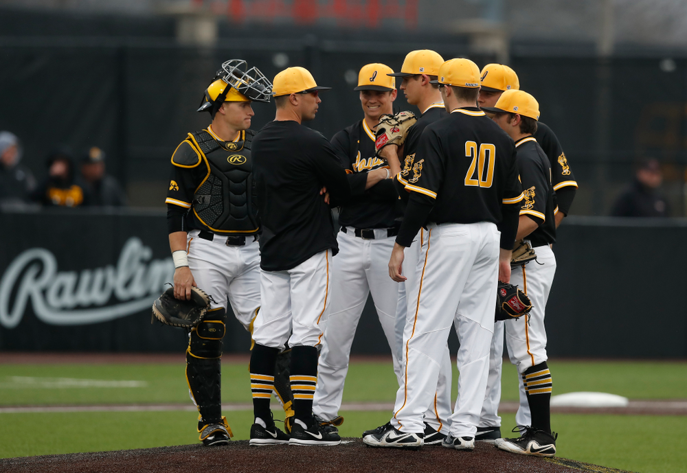 Iowa Hawkeyes pitching coach Desi Druschel against the Bradley Braves Wednesday, March 28, 2018 at Duane Banks Field. (Brian Ray/hawkeyesports.com)