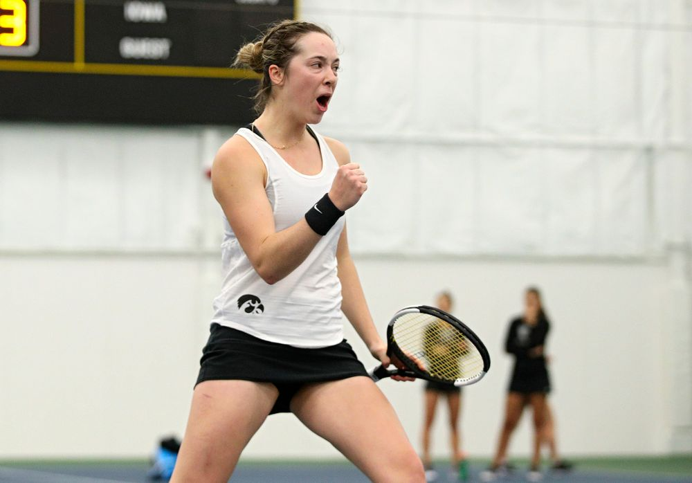 Iowa's Samantha Mannix celebrates a point during her doubles match at the Hawkeye Tennis and Recreation Complex in Iowa City on Sunday, February 23, 2020. (Stephen Mally/hawkeyesports.com)