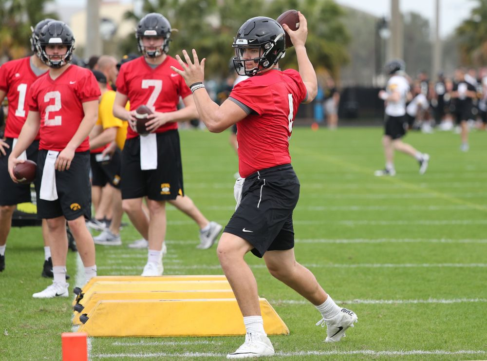 Iowa Hawkeyes quarterback Nate Stanley (4) during the team's first Outback Bowl Practice in Florida Thursday, December 27, 2018 at Tampa University. (Brian Ray/hawkeyesports.com)