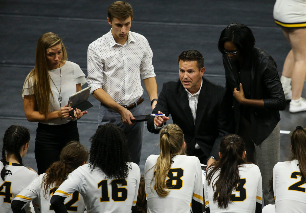 Iowa Hawkeyes head coach Bond Shymansky gives instructions in a timeout during a game against Purdue at Carver-Hawkeye Arena on October 13, 2018. (Tork Mason/hawkeyesports.com)