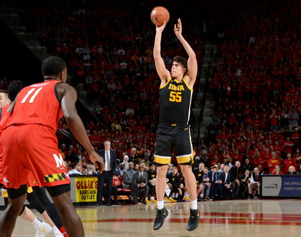 Iowa Hawkeyes center Luka Garza (55) puts up a shot during their game at the Xfinity Center in College Park, MD on Thursday, January 30, 2020. (University of Maryland Athletics)