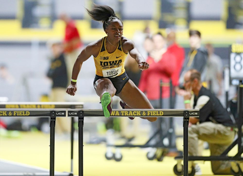 Iowa's Tionna Tobias competes in the women's 60 meter hurdles prelims event during the Jimmy Grant Invitational at the Recreation Building in Iowa City on Saturday, December 14, 2019. (Stephen Mally/hawkeyesports.com)
