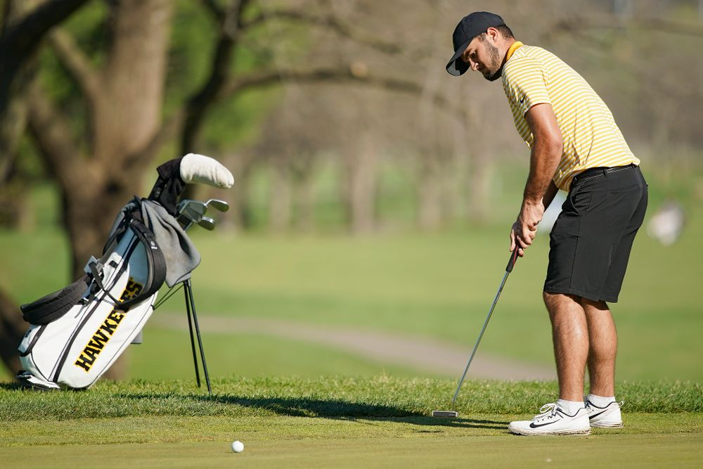 Iowa's Gonzalo Leal putts during the third round of the Hawkeye Invitational at Finkbine Golf Course in Iowa City on Sunday, Apr. 21, 2019. (Stephen Mally/hawkeyesports.com)
