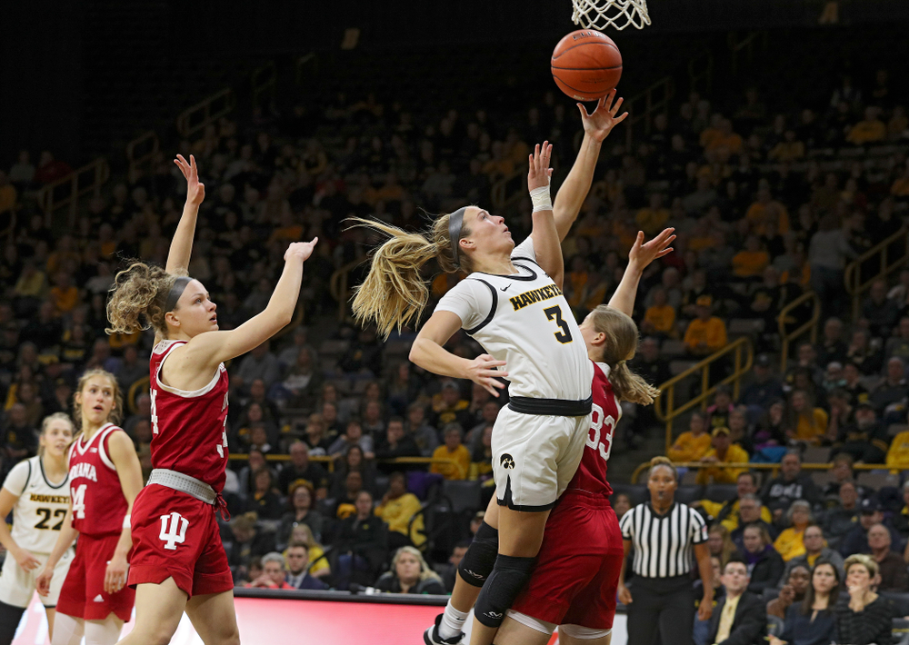 Iowa Hawkeyes guard Makenzie Meyer (3) makes a basket while being fouled during the third quarter of their game at Carver-Hawkeye Arena in Iowa City on Sunday, January 12, 2020. (Stephen Mally/hawkeyesports.com)