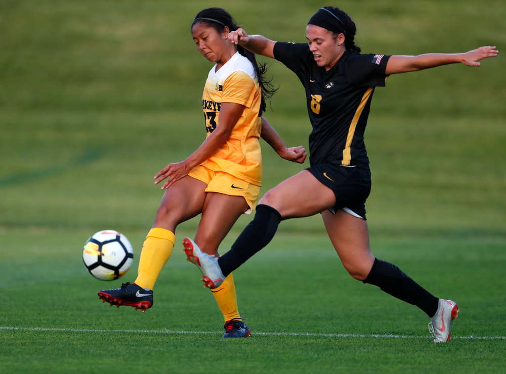 Iowa Hawkeyes Bianca Acuario (13) against the Missouri Tigers Friday, August 17, 2018 at the Iowa Soccer Complex. (Brian Ray/hawkeyesports.com)