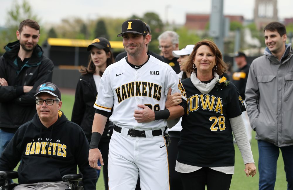Iowa Hawkeyes Chris Whelan (28) during senior day festivities before their game against Michigan State Sunday, May 12, 2019 at Duane Banks Field. (Brian Ray/hawkeyesports.com)