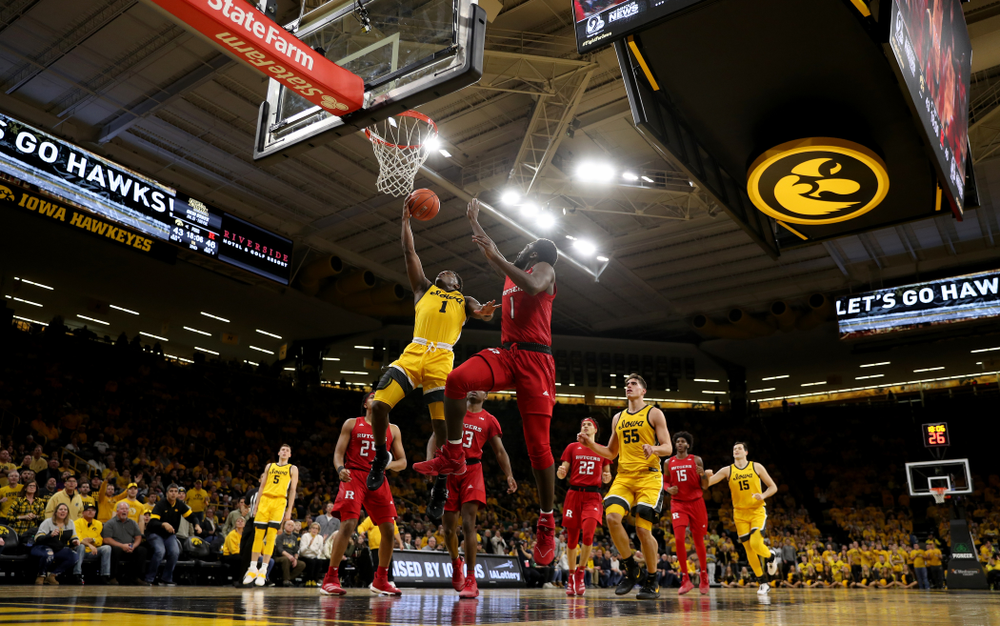 Iowa Hawkeyes guard Joe Toussaint (1) against the Rutgers Scarlet Knights  Wednesday, January 22, 2020 at Carver-Hawkeye Arena. (Brian Ray/hawkeyesports.com)
