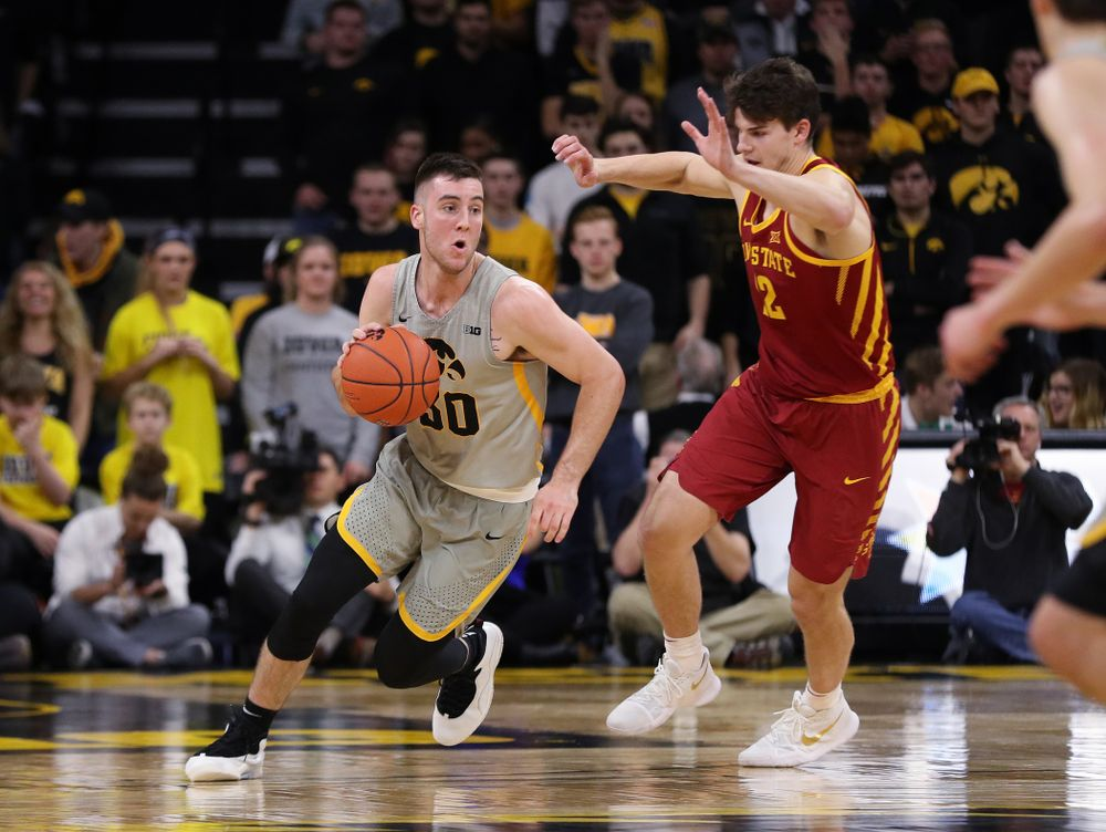 Iowa Hawkeyes guard Connor McCaffery (30) against the Iowa State Cyclones in the Iowa Corn Cy-Hawk Series Thursday, December 6, 2018 at Carver-Hawkeye Arena. (Brian Ray/hawkeyesports.com)