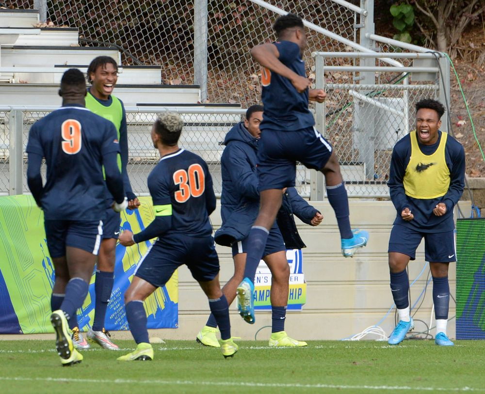 Virginia celebrate their goal during the 2019 ACC Men?s Soccer Championship at WakeMed Soccer Park in Cary, N.C., Sunday Nov. 17, 2019. (Photo by Sara D. Davis, the ACC)